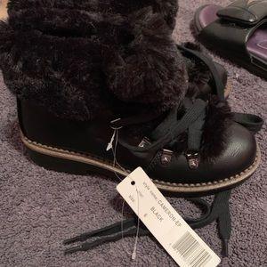 Shoes - Espirit Black Furry Boots - Size 6 Brand New